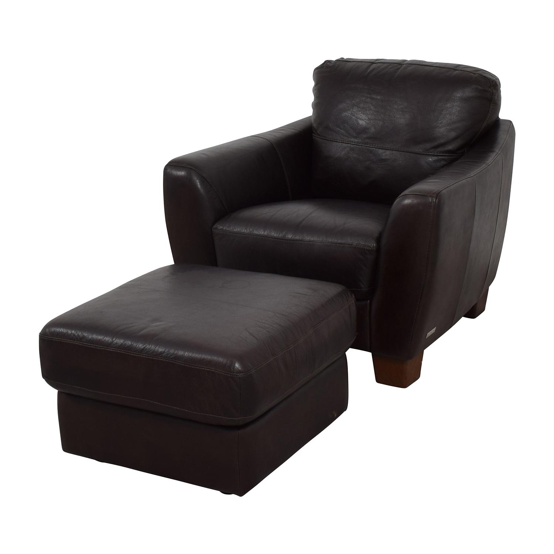64 off sofitalia sofitalia dark brown leather armchair and ottoman chairs. Black Bedroom Furniture Sets. Home Design Ideas