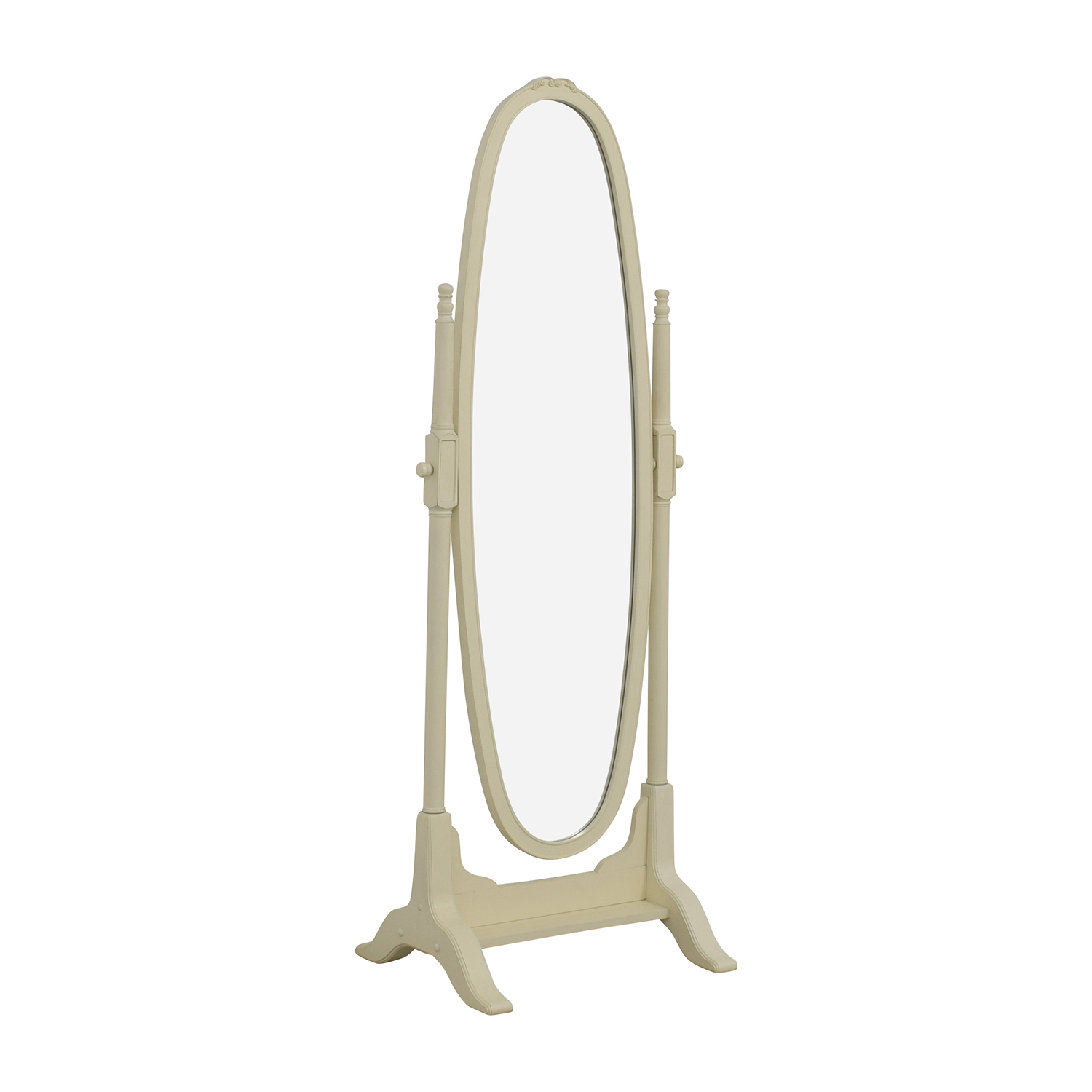 Pottery Barn Vintage White Oval Floor Mirror Pottery Barn