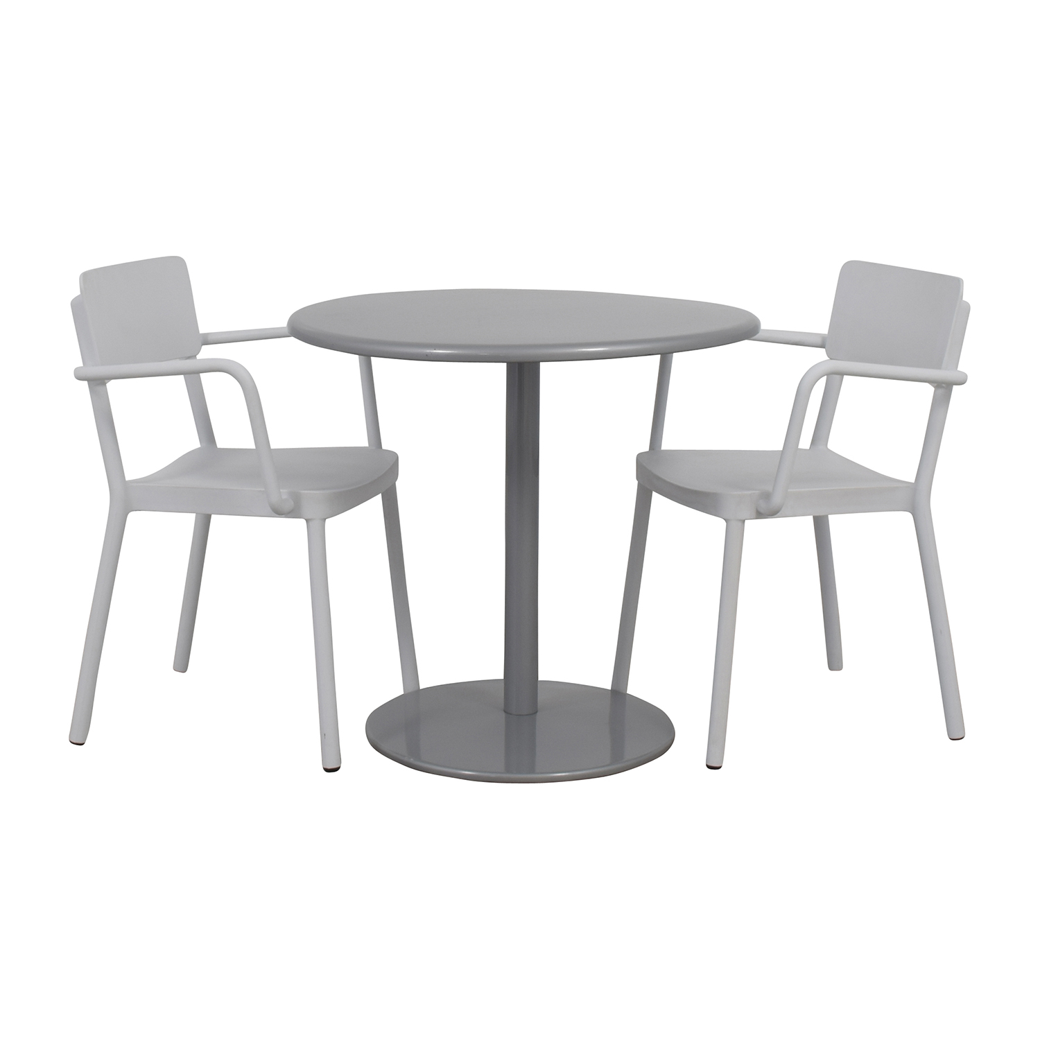 Design Within Reach Design Within Reach Bistro Table and Two Chairs silver and white
