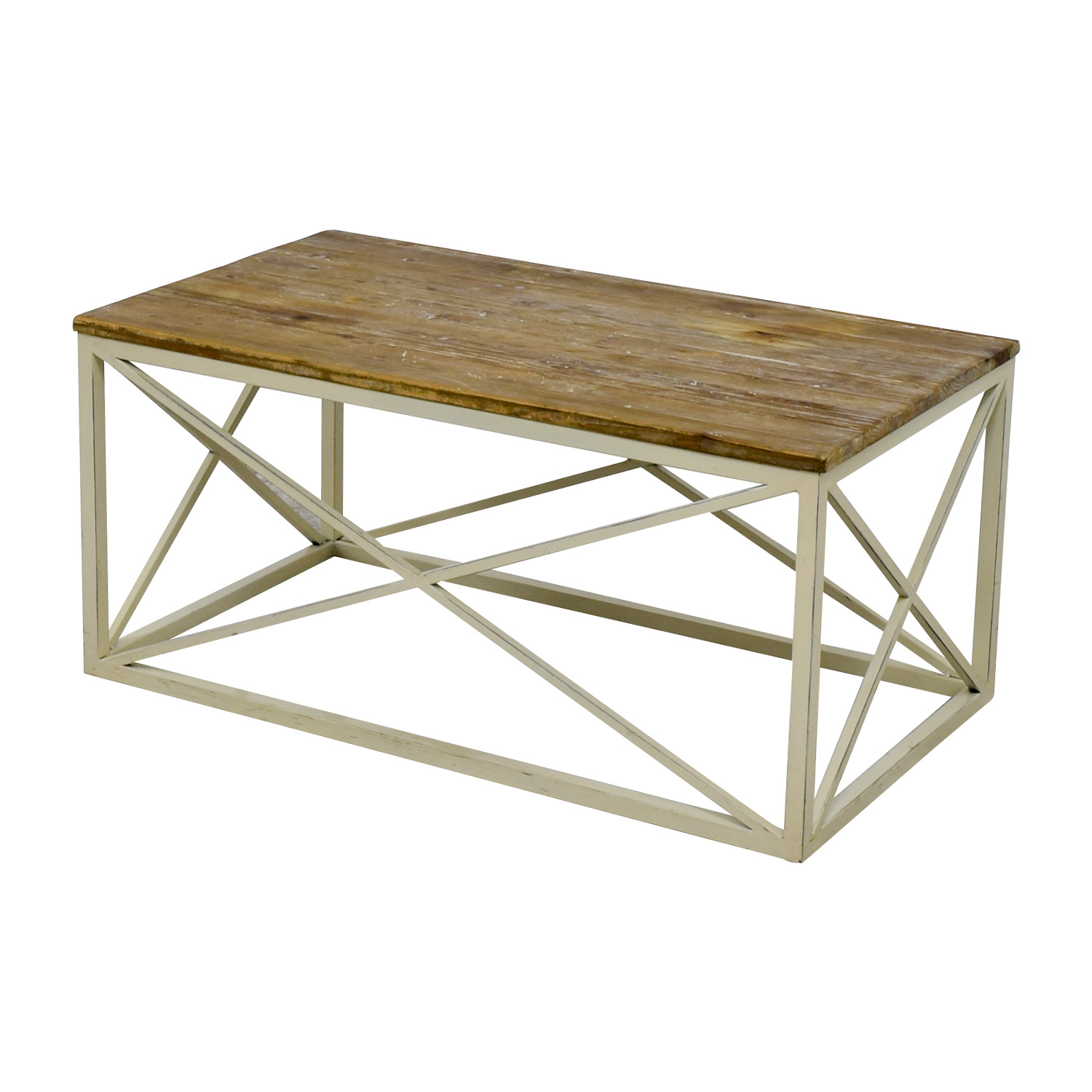 67 Off Wayfair Wayfair Wooden And Metal Coffee Table