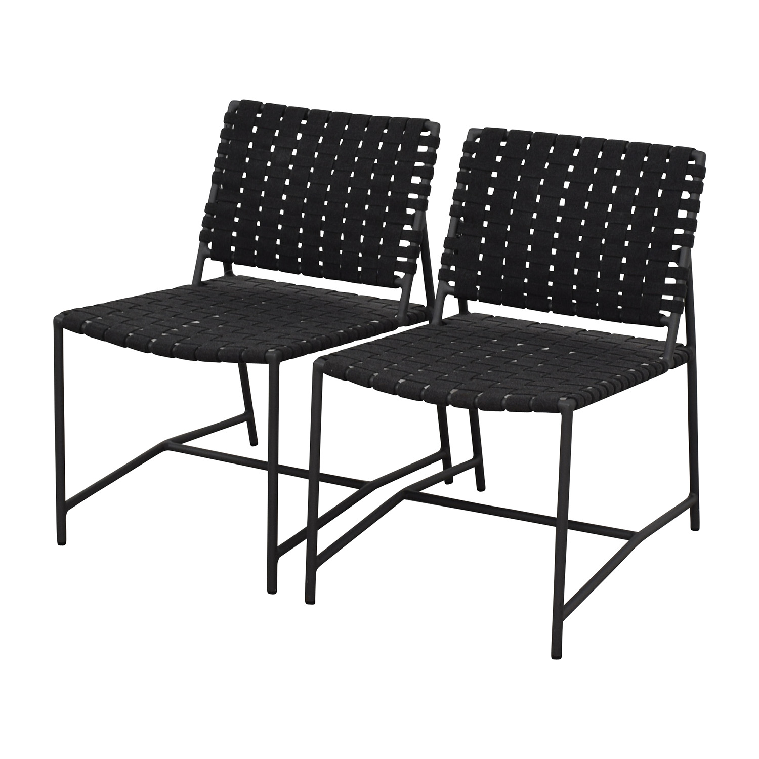 Restoration Hardware Restoration Hardware Dark Grey Woven Outdoor Chairs discount