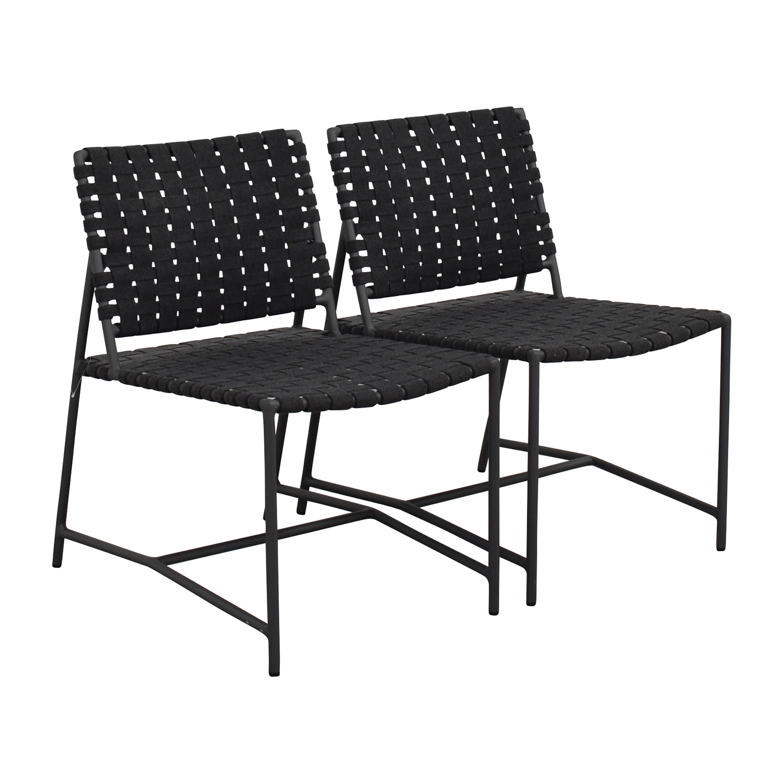 Restoration Hardware Dark Grey Woven Outdoor Chairs / Chairs