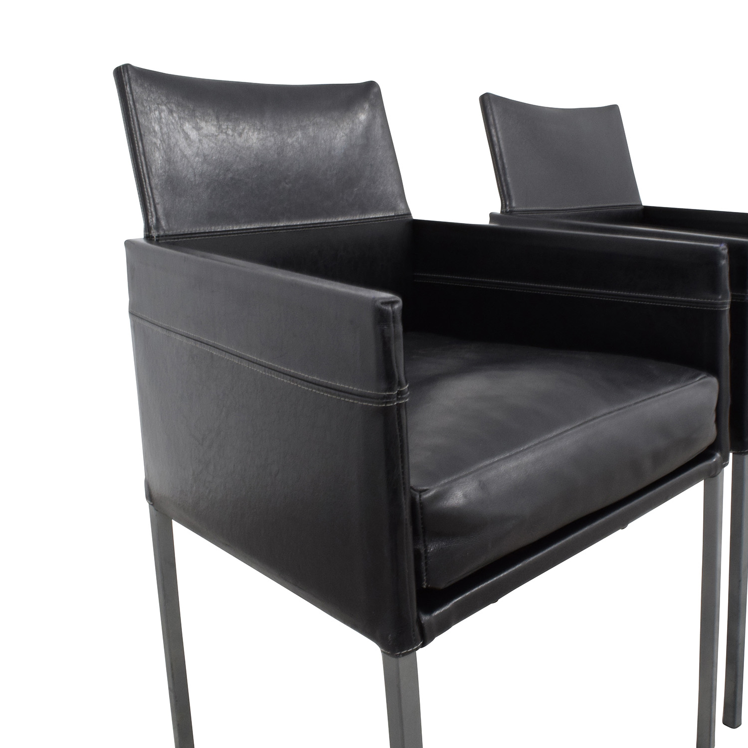 buy Design Within Reach Black Leather Chairs Design Within Reach