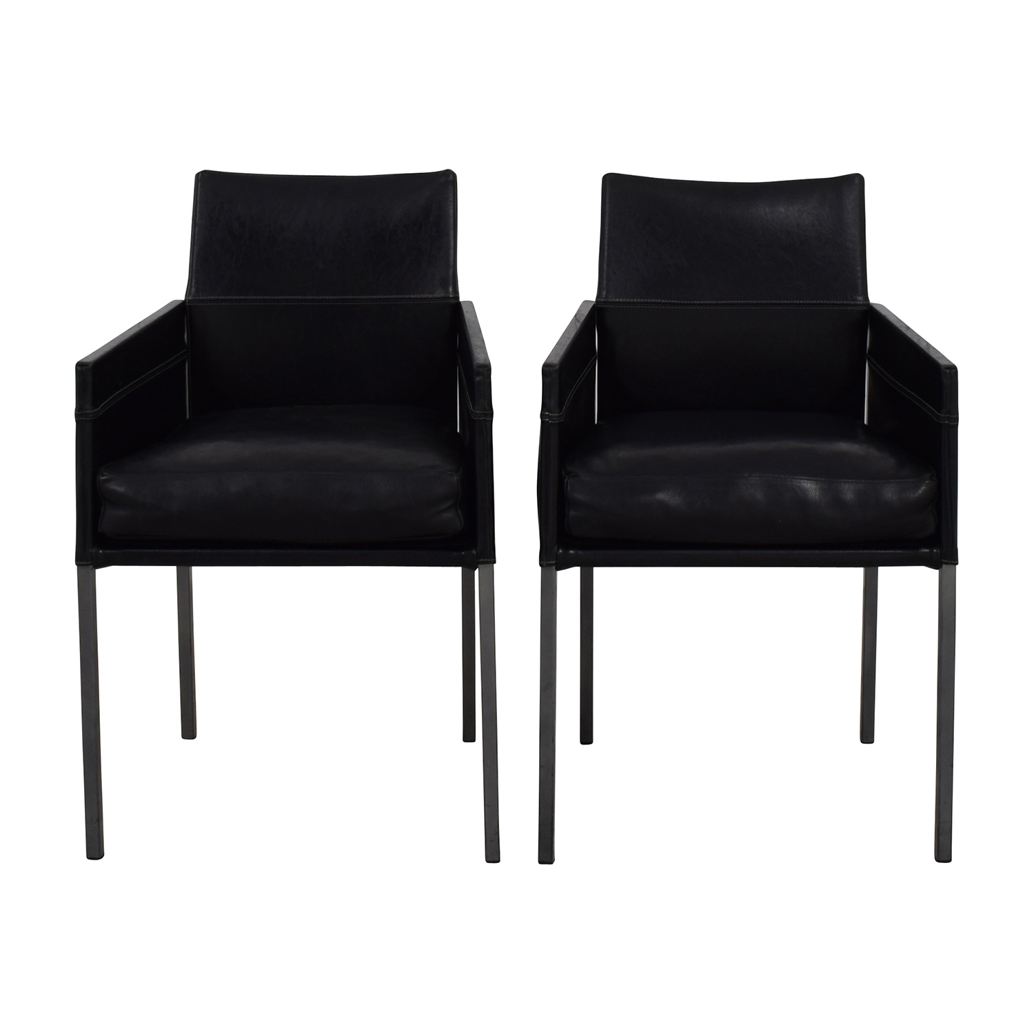 Design Within Reach Black Leather Chairs / Accent Chairs