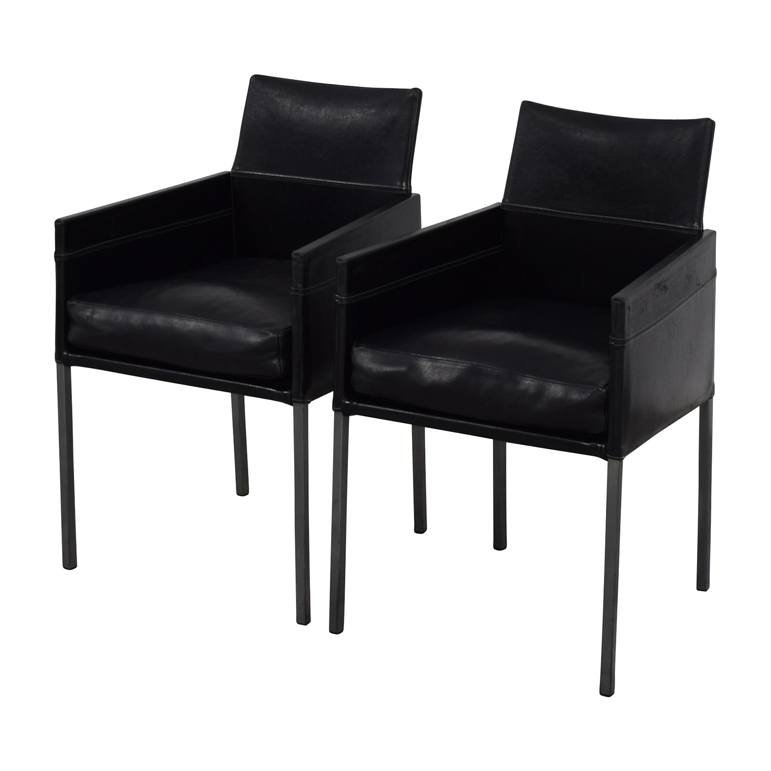 Design Within Reach Design Within Reach Black Leather Chairs on sale