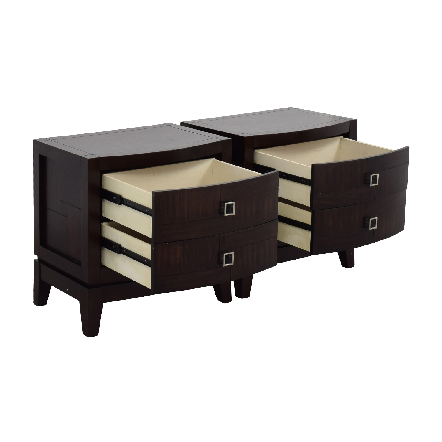 Najarian Jigsaw Pattern Two-Drawer Bedside Tables / Tables