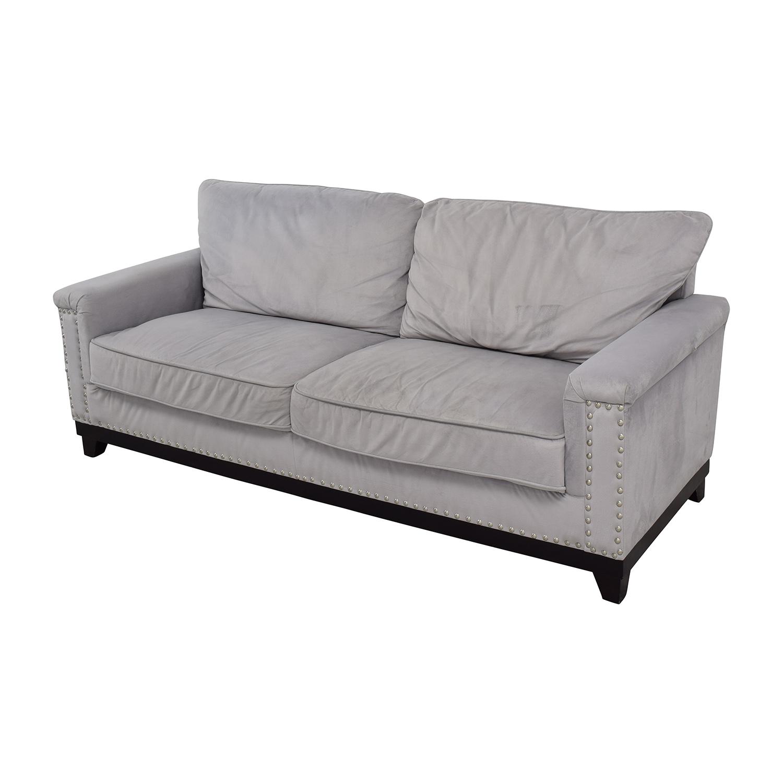 shop Coaster Furniture Grey Microfiber Studded Sofa Coaster Furniture Sofas