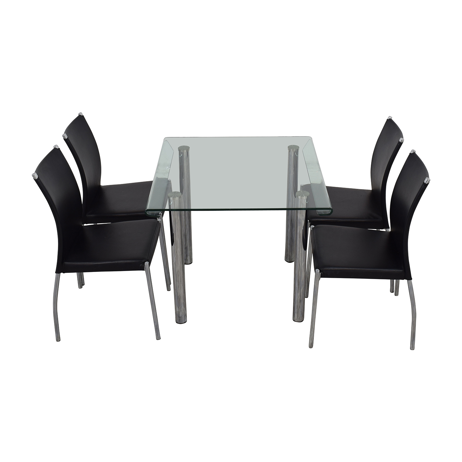 Division Street Division Street Glass and Chrome Dining Set second hand