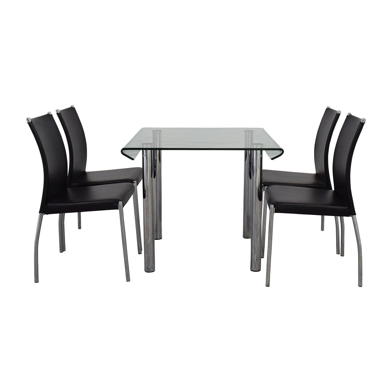 Division Street Division Street Glass and Chrome Dining Set used