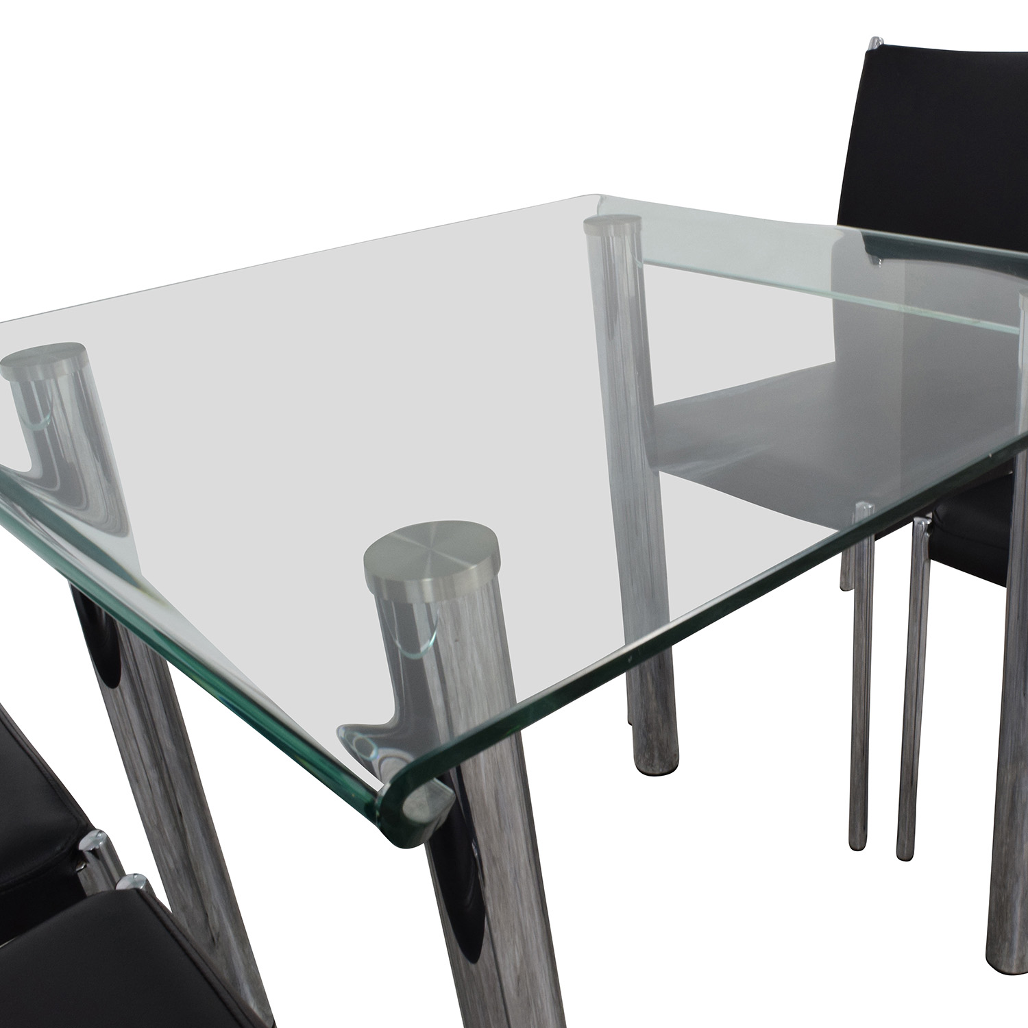 Division Street Glass and Chrome Dining Set sale
