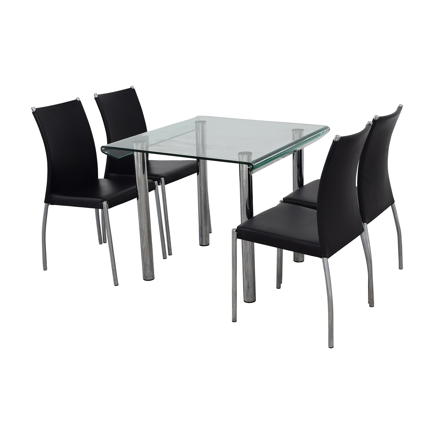 Division Street Glass and Chrome Dining Set Division Street