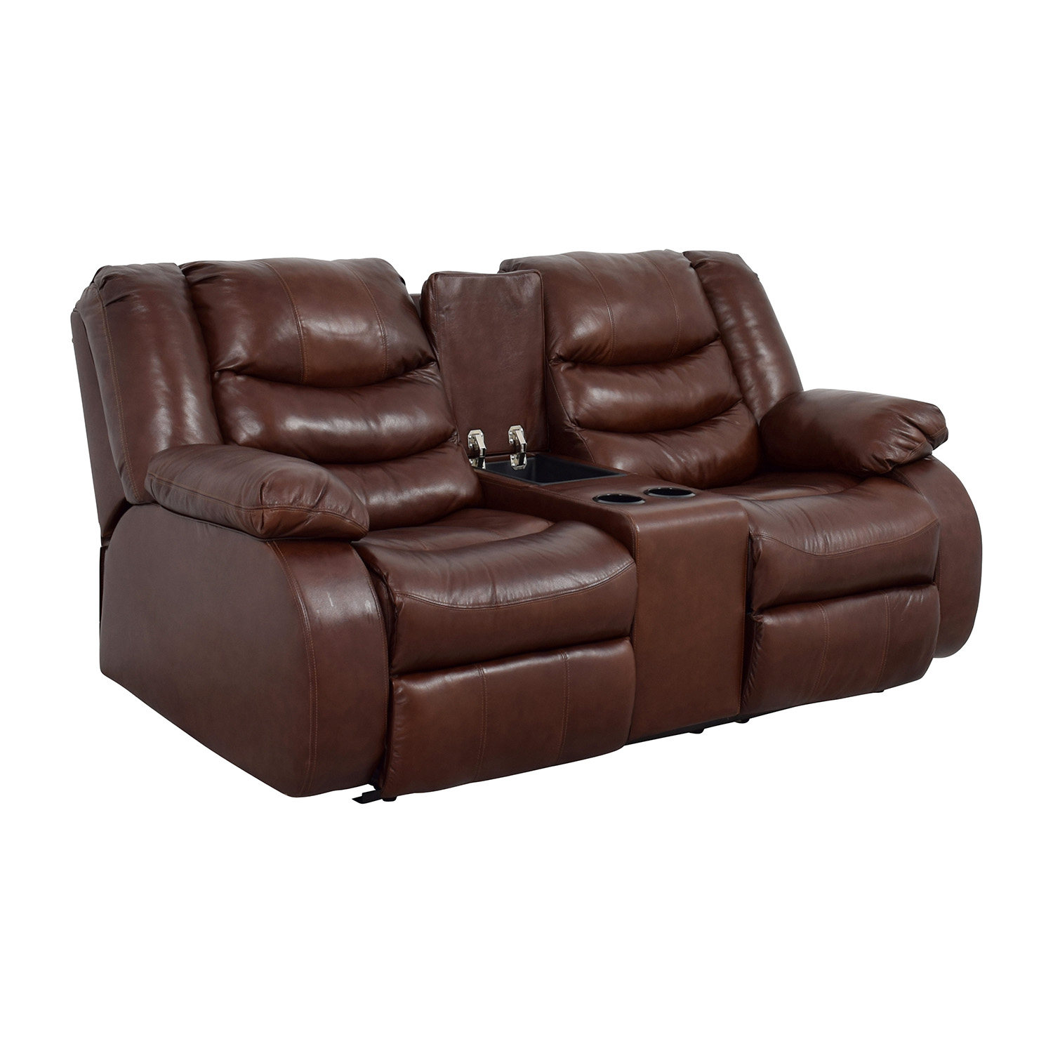 90% OFF - Ashley Furniture Ashley Furniture Brown Leather Reclining Couch /  Sofas