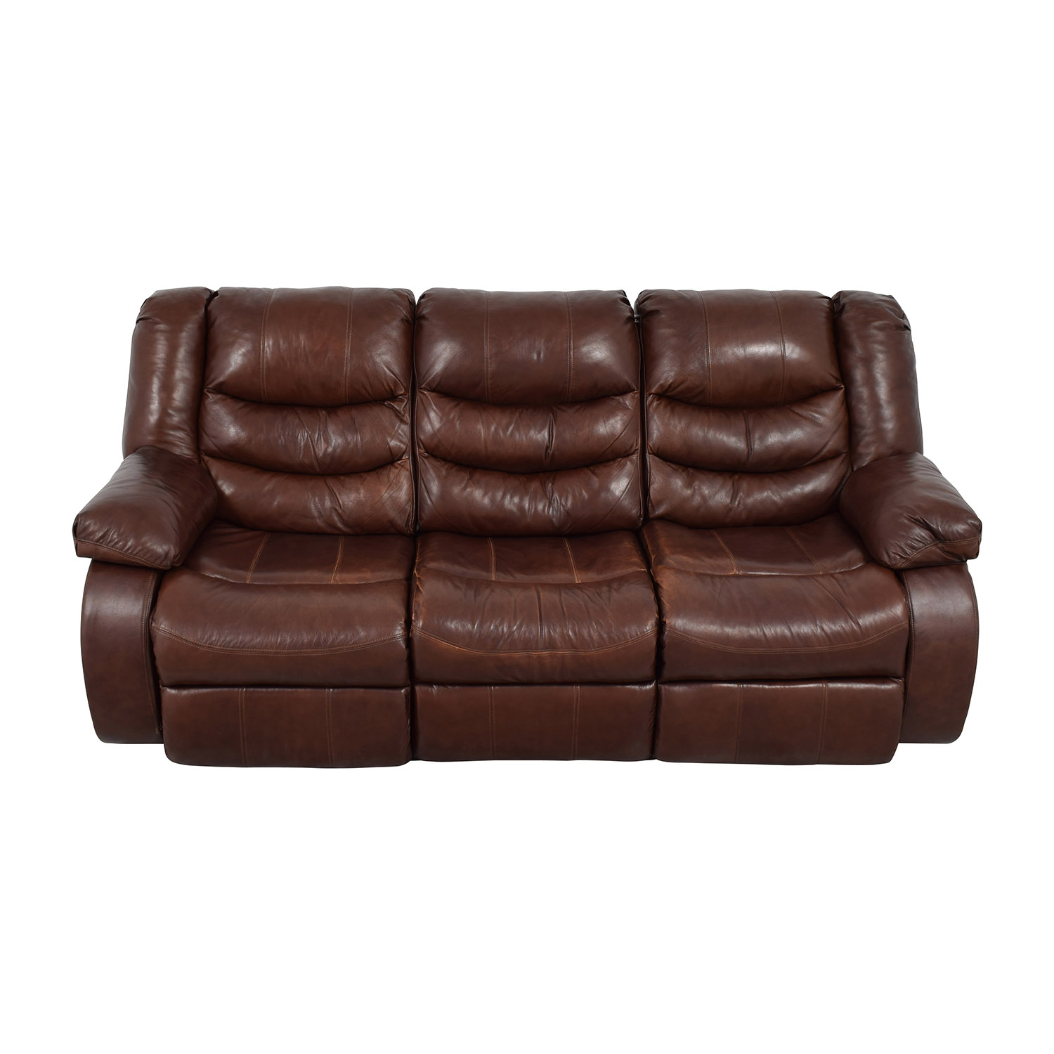 Ashleys Furniture Ashley Furniture Large Brown Leather Reclining Couch Classic Sofas