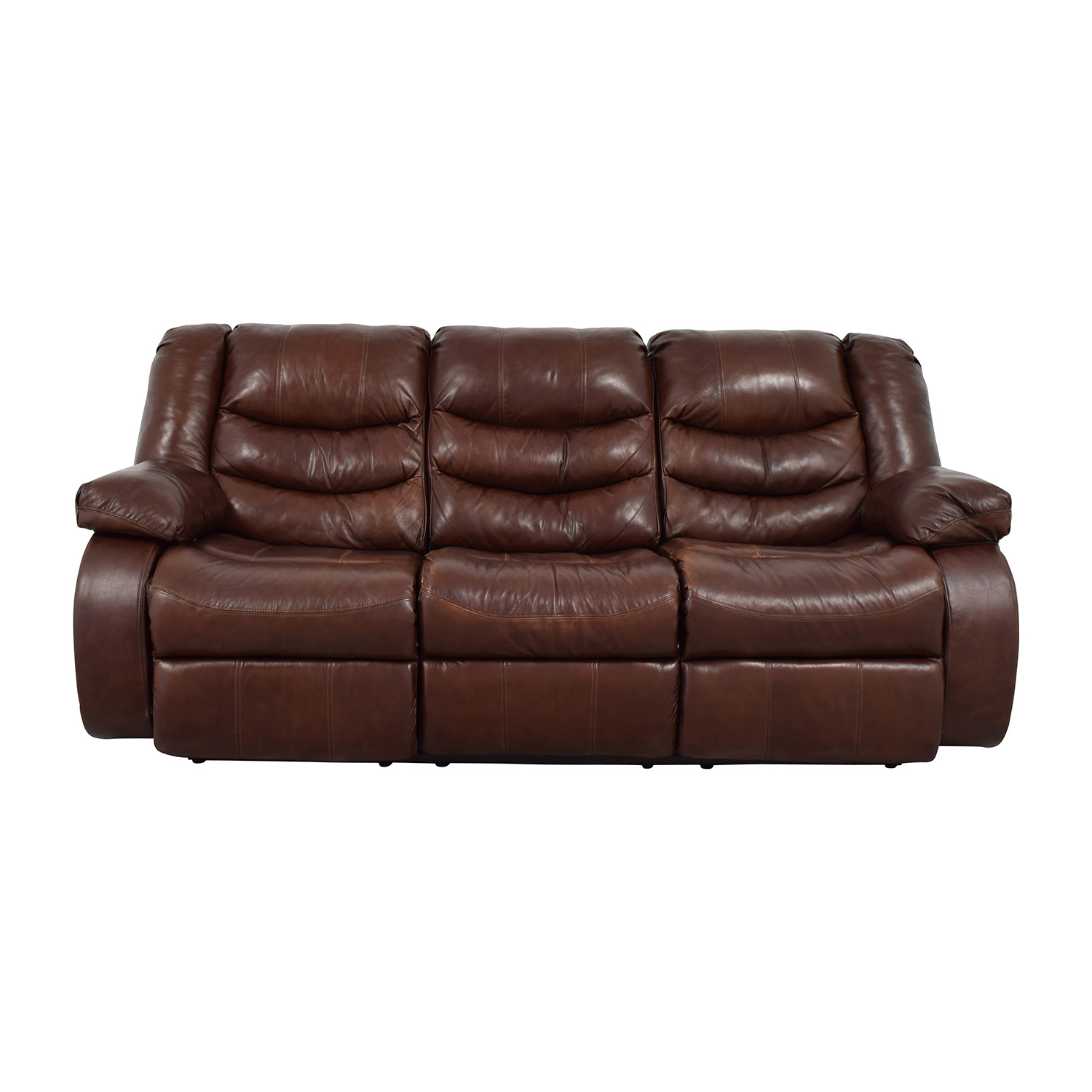 buy Ashley Furniture Large Brown Leather Reclining Couch Ashleys Furniture Classic Sofas