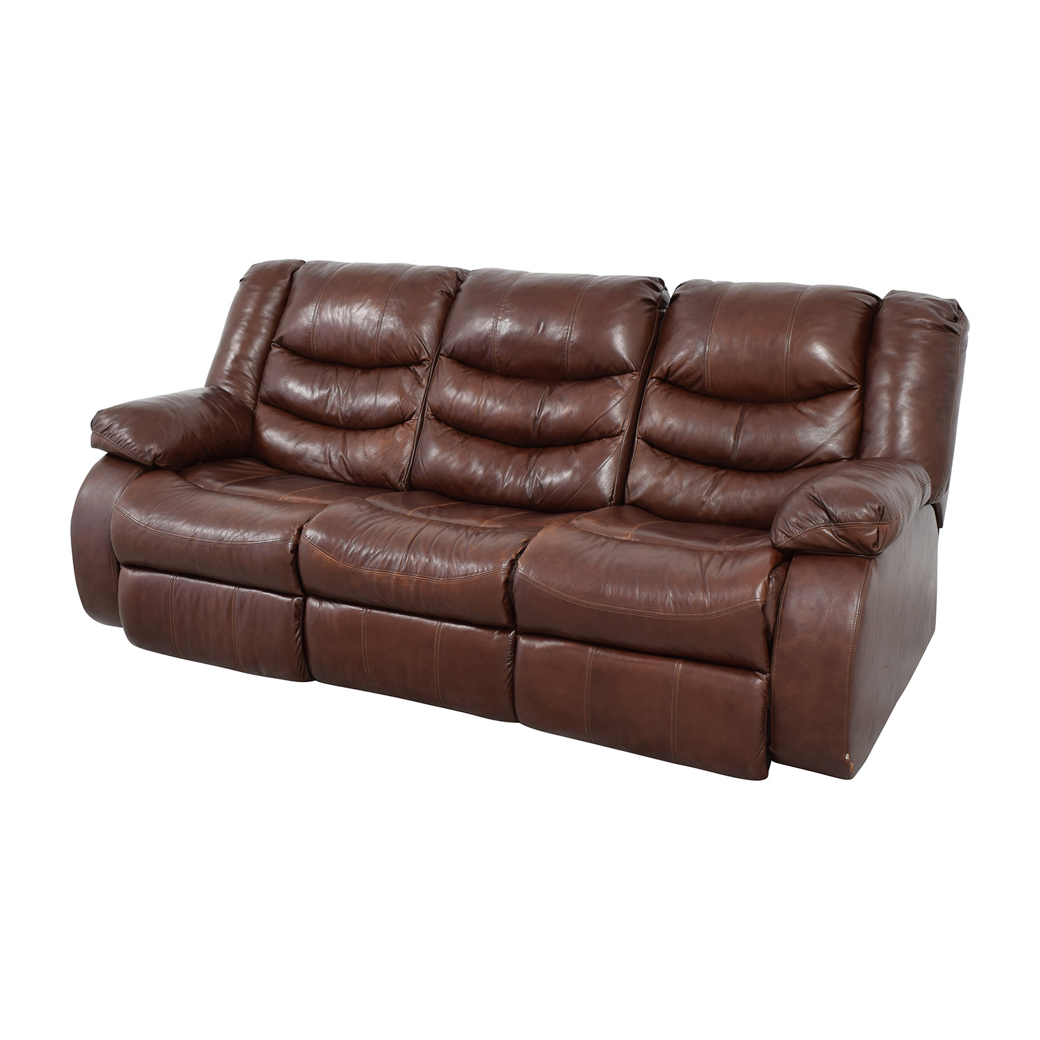 Ashleys Furniture Ashley Furniture Large Brown Leather Reclining Couch nj