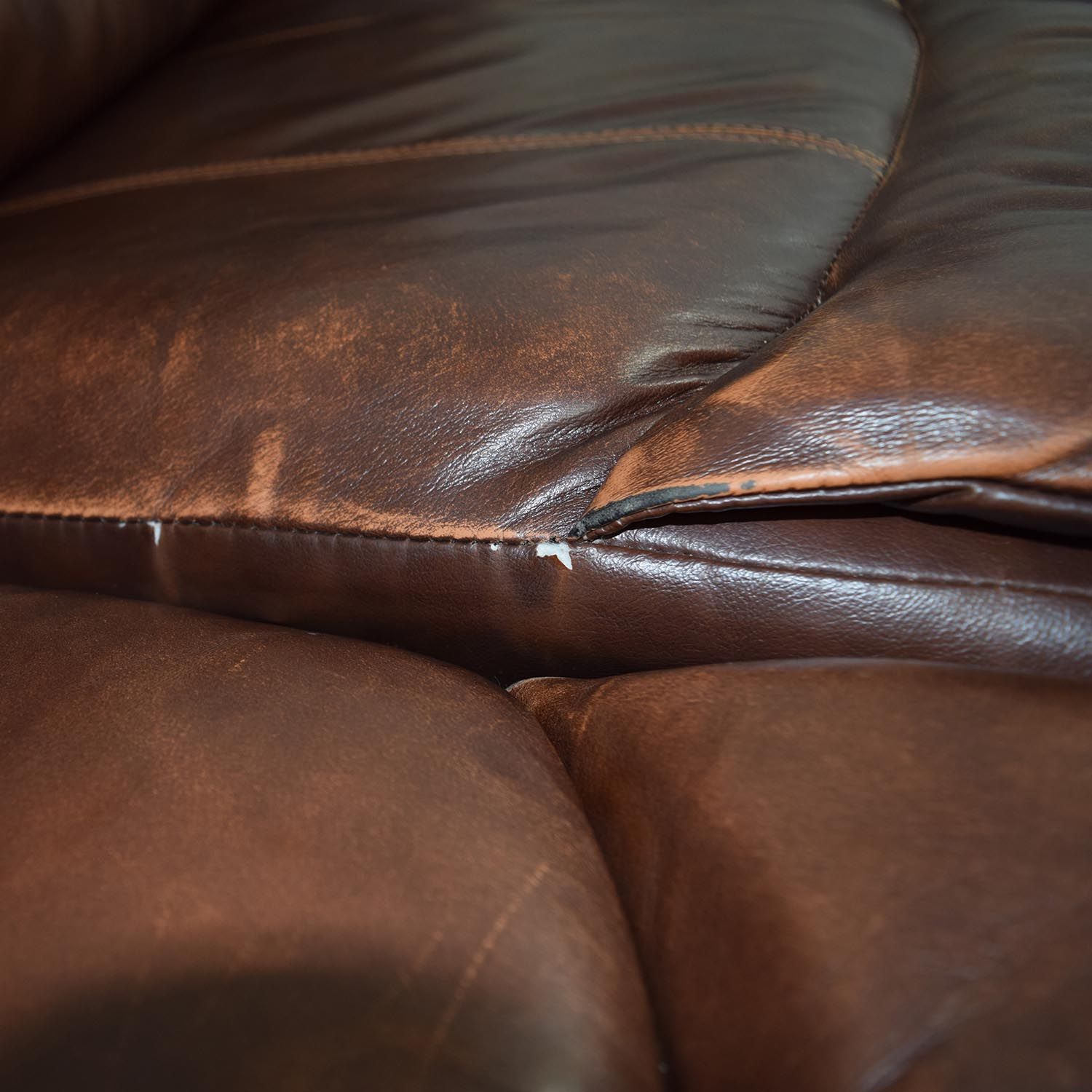 Ashleys Furniture Ashley Furniture Large Brown Leather Reclining Couch for sale