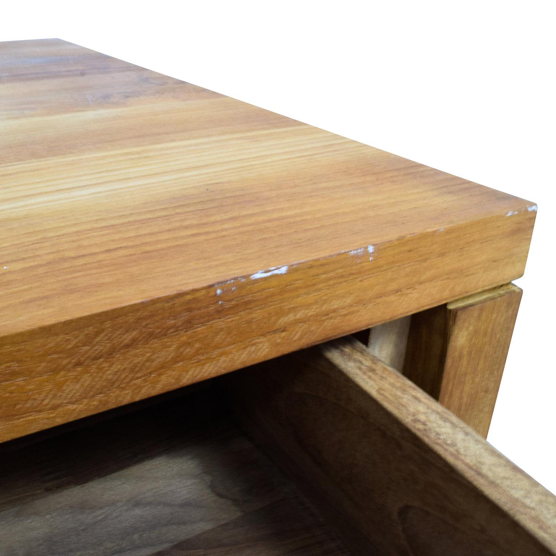 67 off room and board room board two drawer teak desk tables. Black Bedroom Furniture Sets. Home Design Ideas