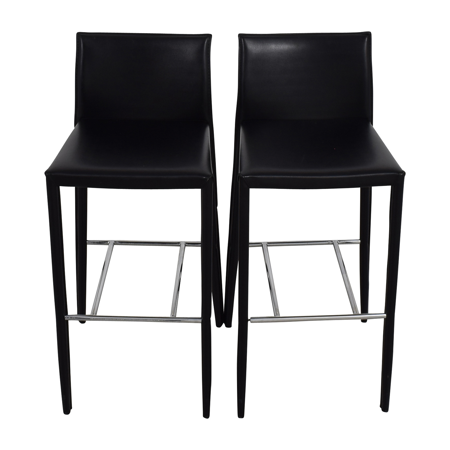Stupendous 78 Off Black Leather Bar Stools Chairs Ncnpc Chair Design For Home Ncnpcorg