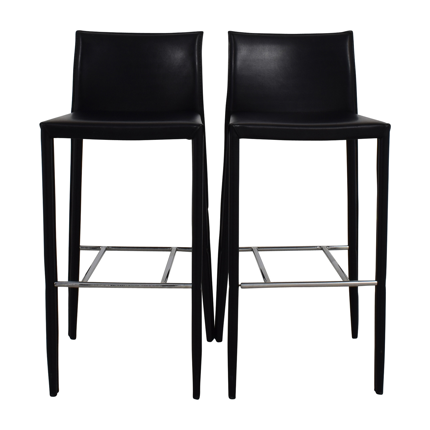 Black Leather Bar Stools for sale