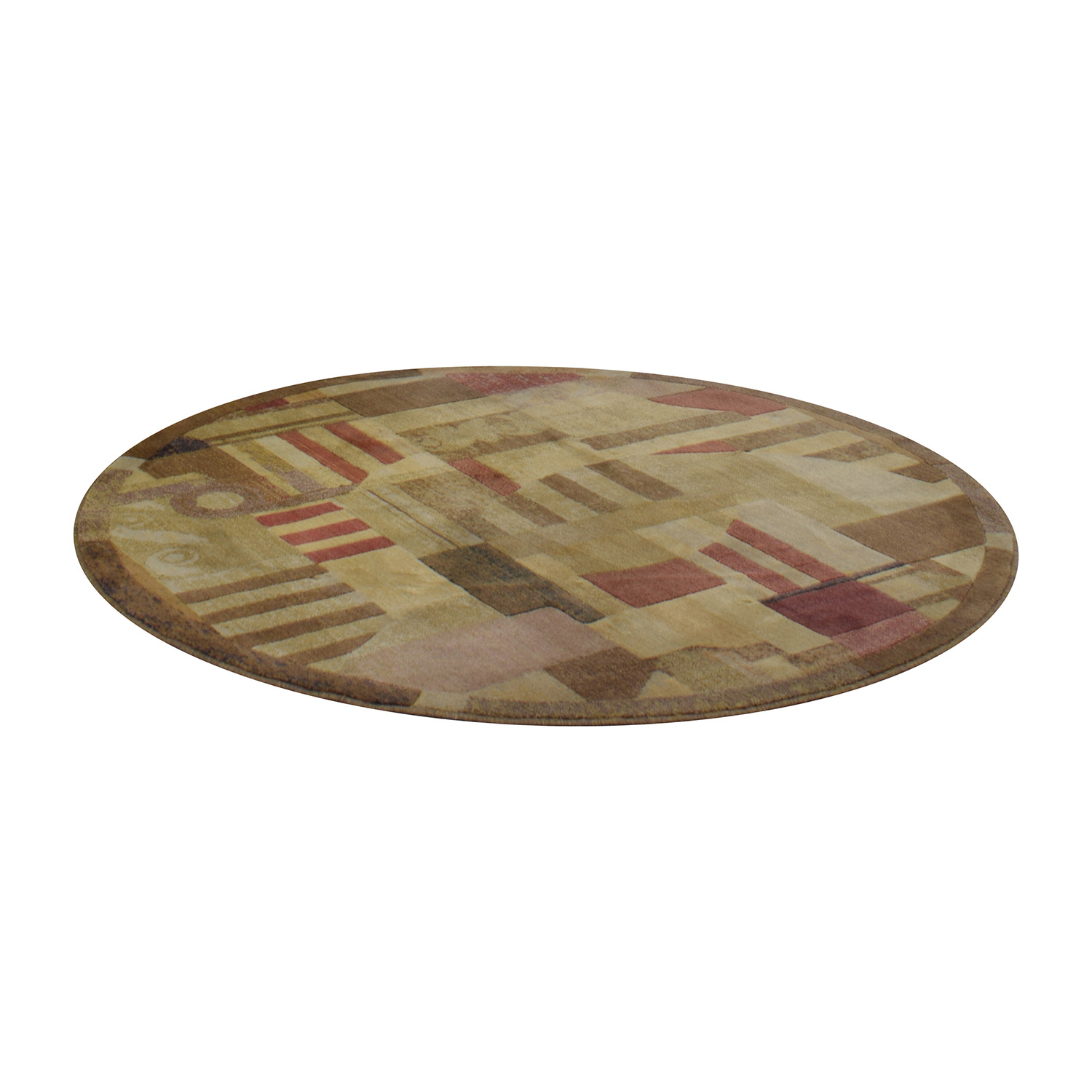 shop Beige Brown and Red Round Rug Decor