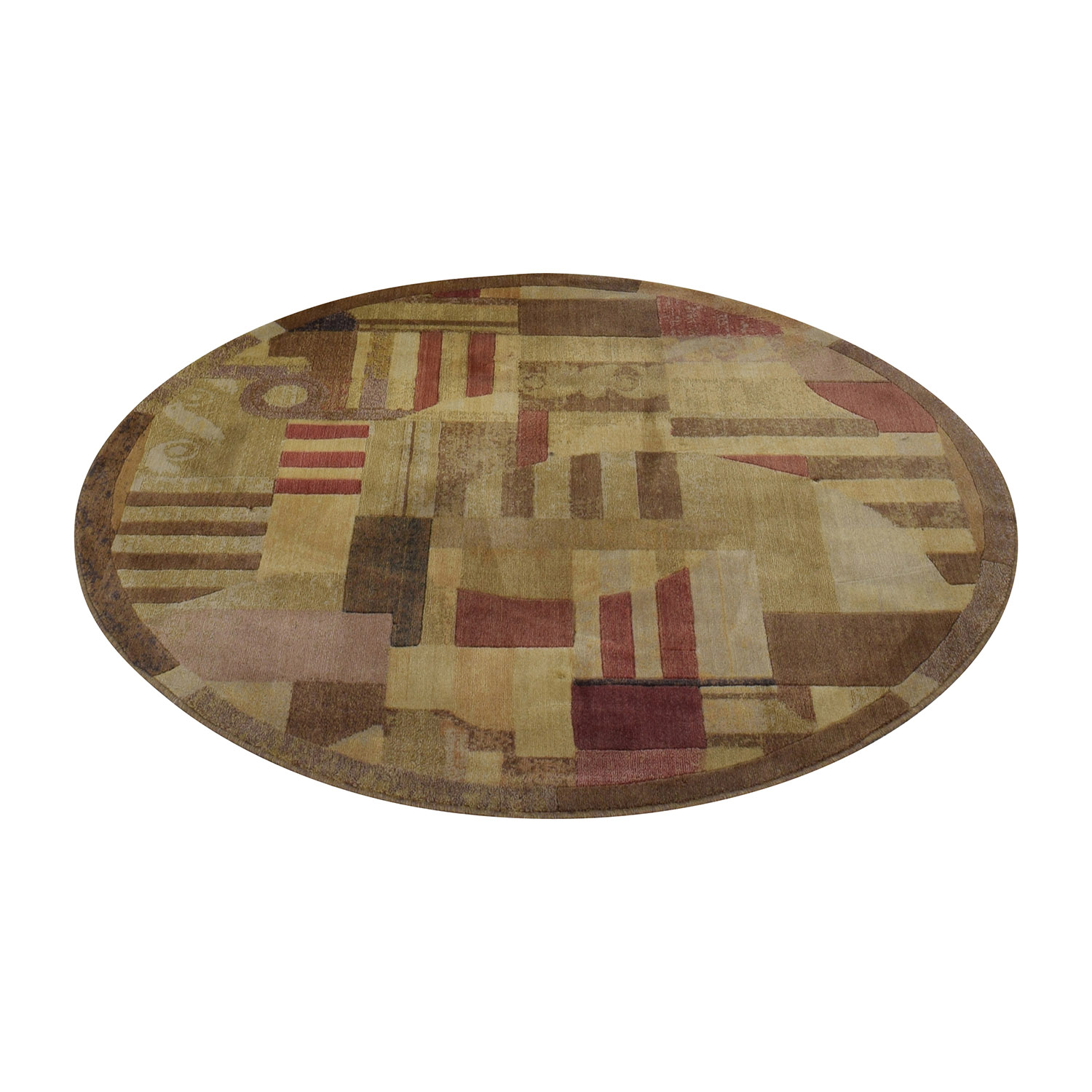 Beige Brown and Red Round Rug / Decor