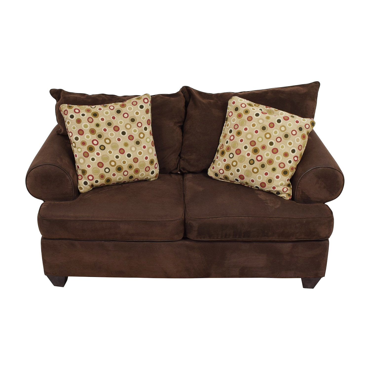 Raymour and Flanigan Raymour & Flanigan Brown Two-Cushion Loveseat Loveseats