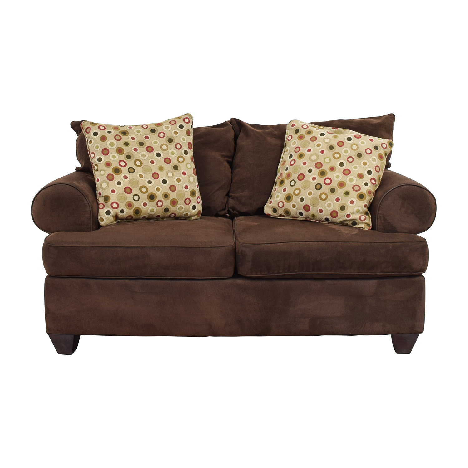 buy Raymour & Flanigan Brown Two-Cushion Loveseat Raymour and Flanigan