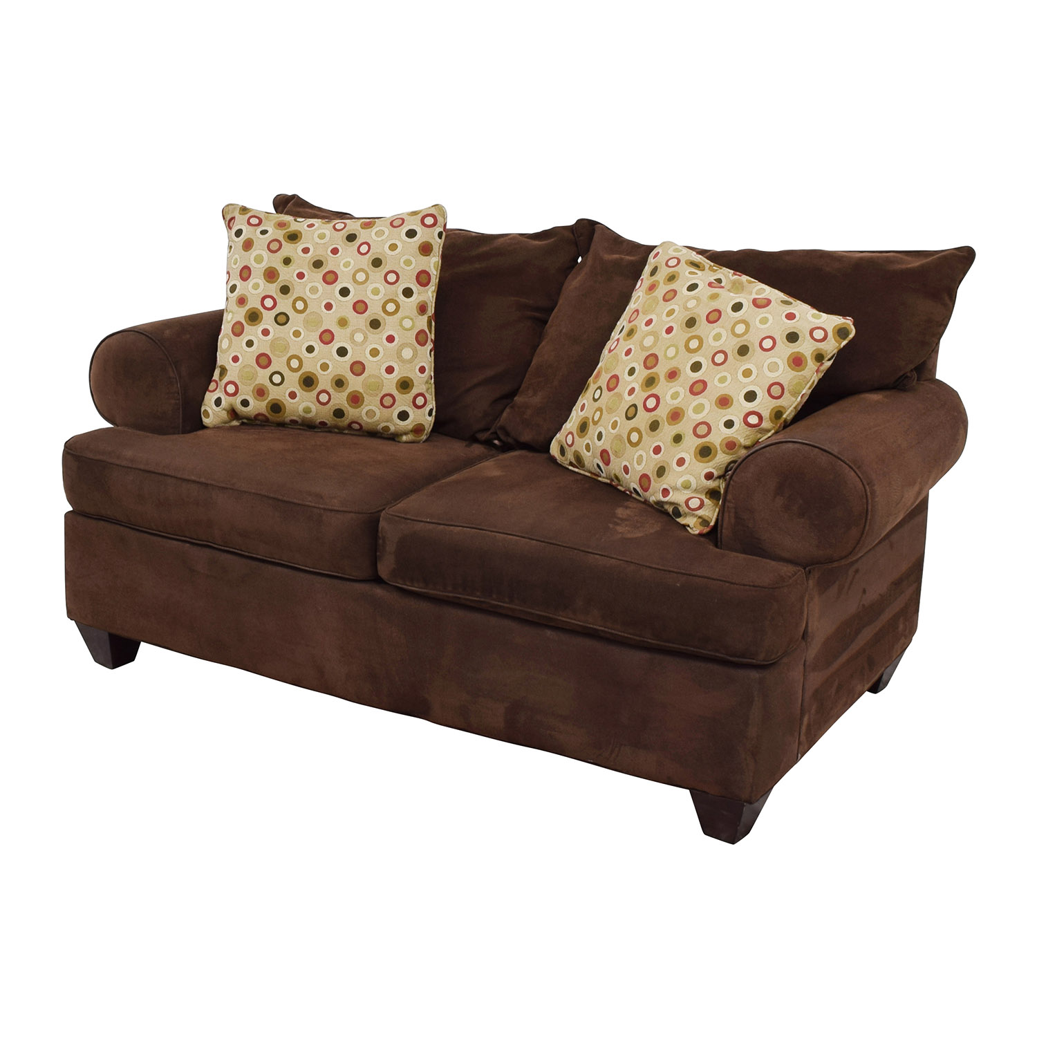 Raymour & Flanigan Brown Two-Cushion Loveseat Raymour and Flanigan