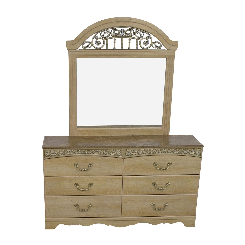 Ashleys Furniture Ashley Furniture Light Oak Dresser with Mirror used
