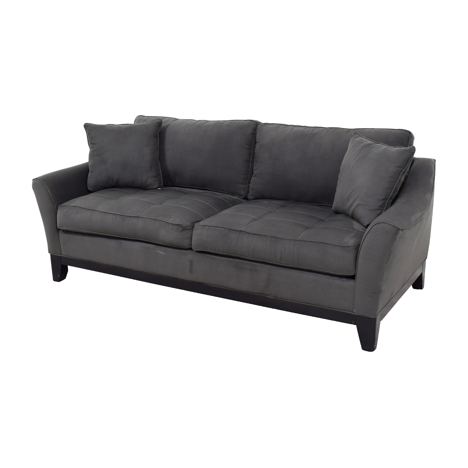 shop Raymour and Flanigan Slate Microfiber Two-Seater Sofa Raymour and Flanigan Sofas