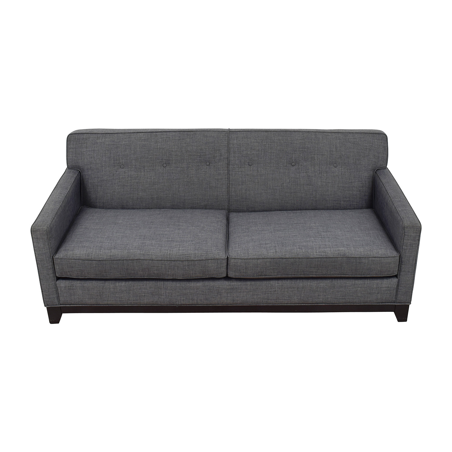 Raymour and Flanigan Raymour & Flanigan Chilson Grey Tufted Two-Cushion Sofa discount