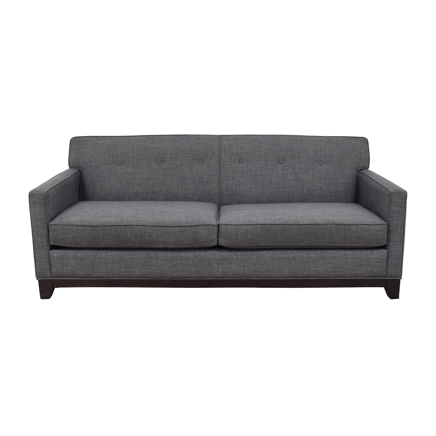 buy Raymour & Flanigan Chilson Grey Tufted Two-Cushion Sofa Raymour and Flanigan Classic Sofas