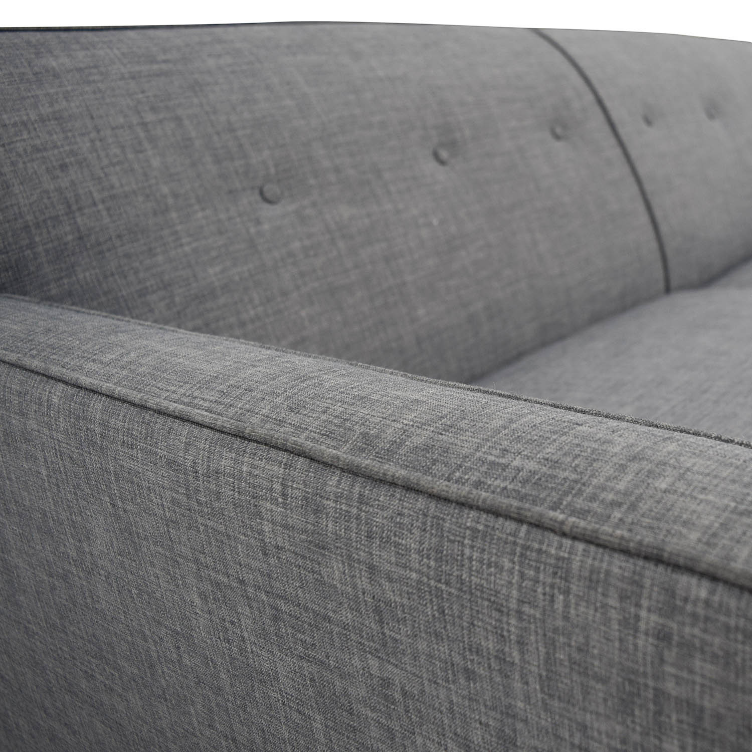 Raymour and Flanigan Raymour & Flanigan Chilson Grey Tufted Two-Cushion Sofa on sale