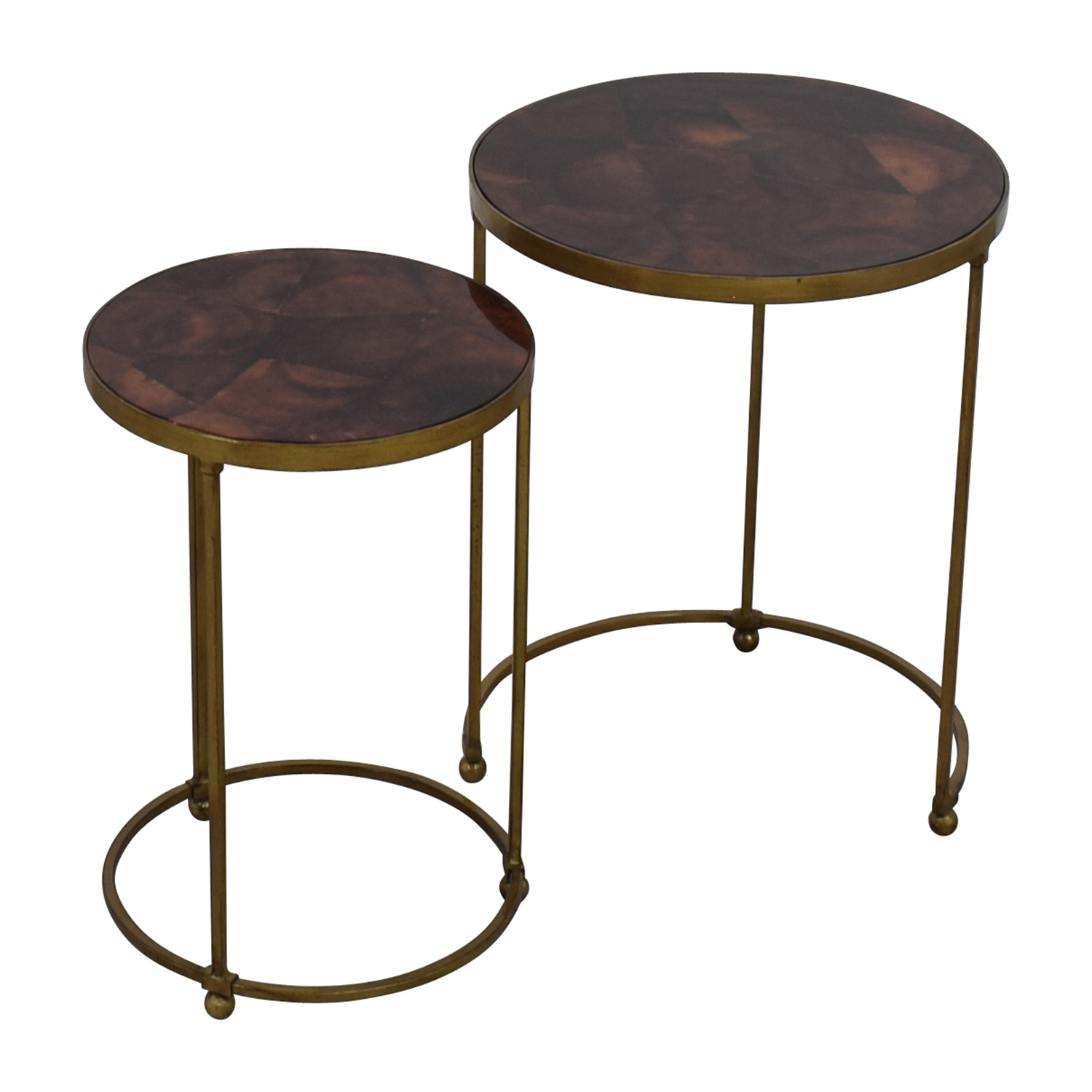 ABC Carpet and Home ABC Carpet & Home Nesting Round Bronze and Brass Accent Tables used