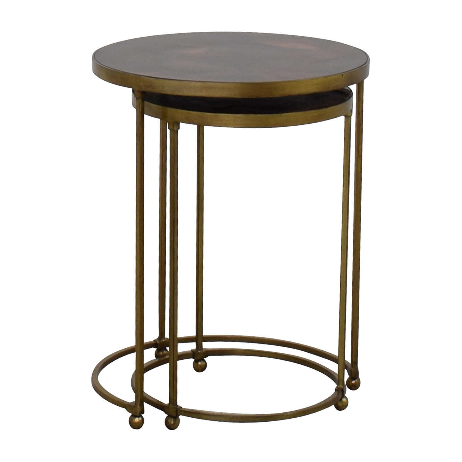 ABC Carpet and Home ABC Carpet & Home Nesting Round Bronze and Brass Accent Tables Bronze and Brown