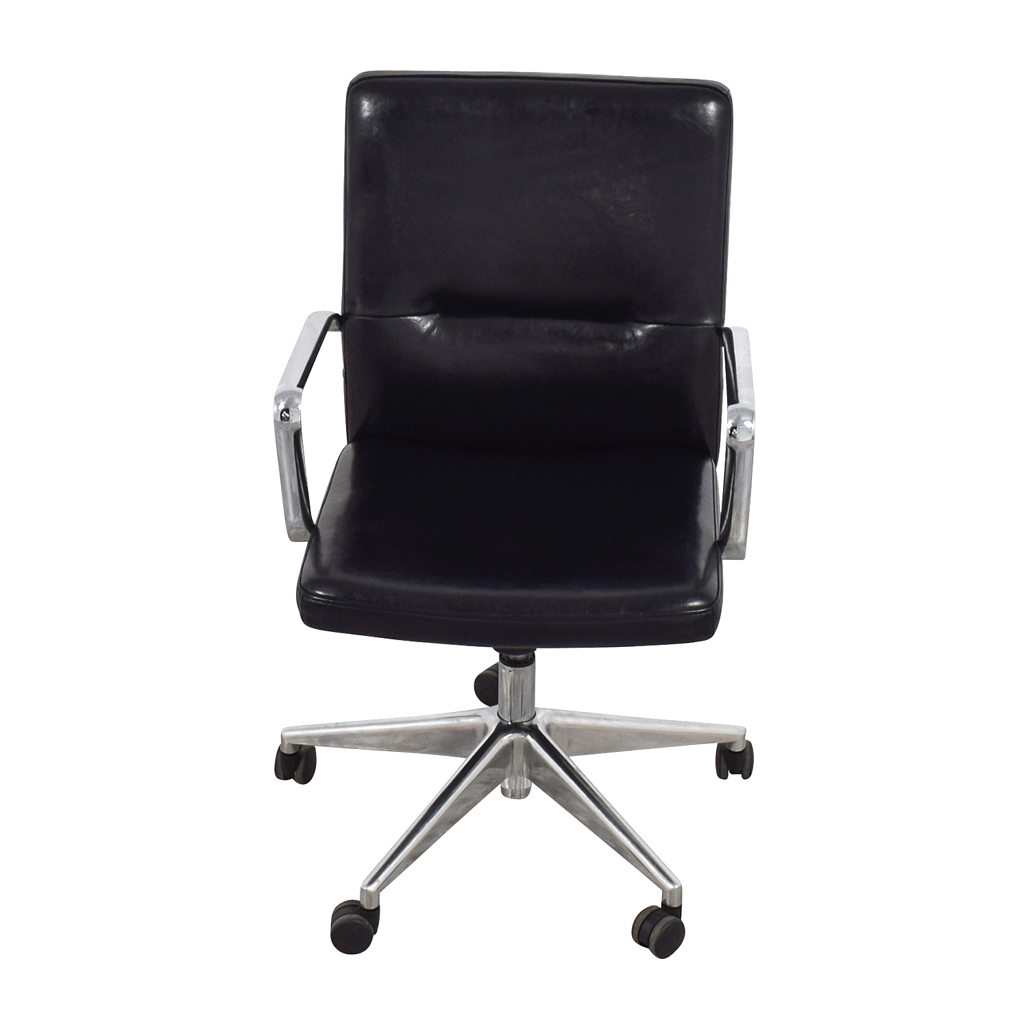 shop Sleek Black Office Chair with Chrome Armrest Home Office Chairs