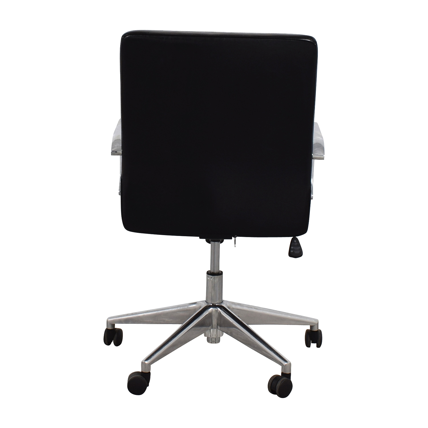 Sleek Black Office Chair with Chrome Armrest Black