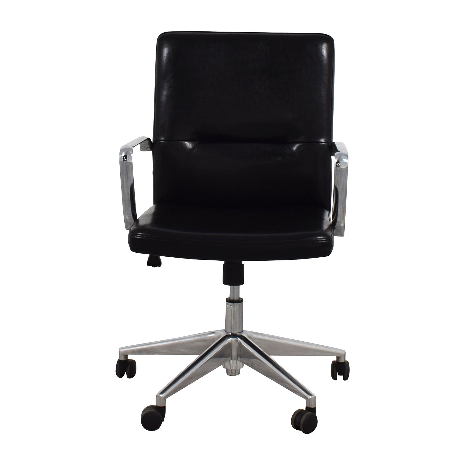 shop Sleek Black Office Chair with Chrome Armrest  Chairs