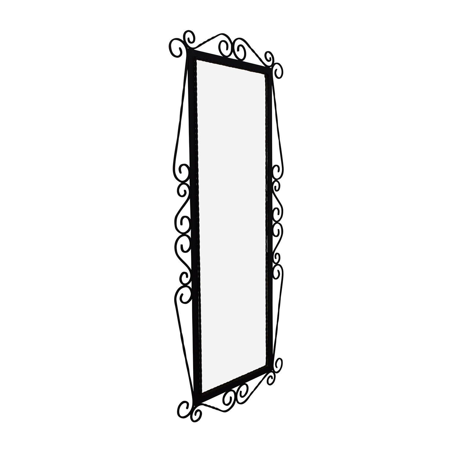 Antique French Wrought Iron Mirror with Original Beveled Glass on sale