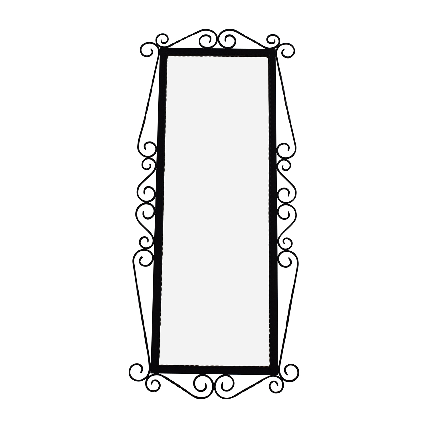 Antique French Wrought Iron Mirror with Original Beveled Glass Black