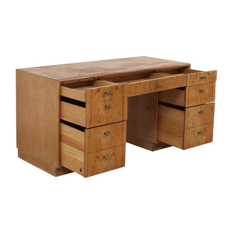 Vintage Wood Nine-Drawer Desk Tables