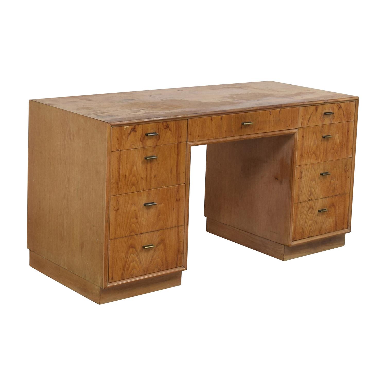 buy Vintage Wood Nine-Drawer Desk