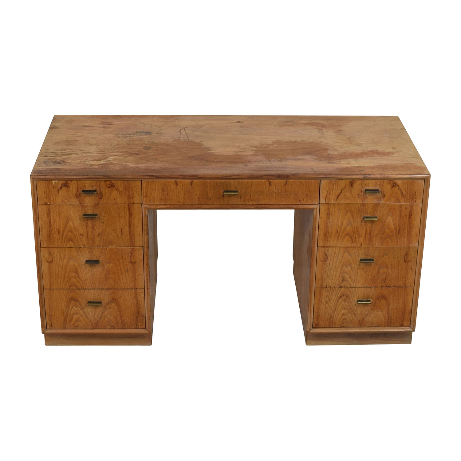 buy Vintage Wood Nine-Drawer Desk