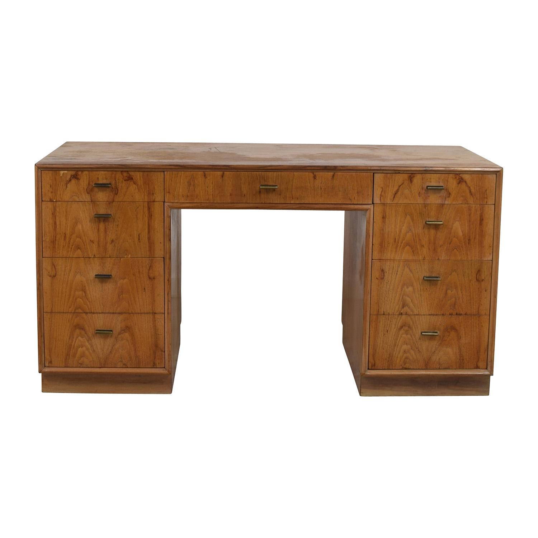 Vintage Wood Nine-Drawer Desk / Tables