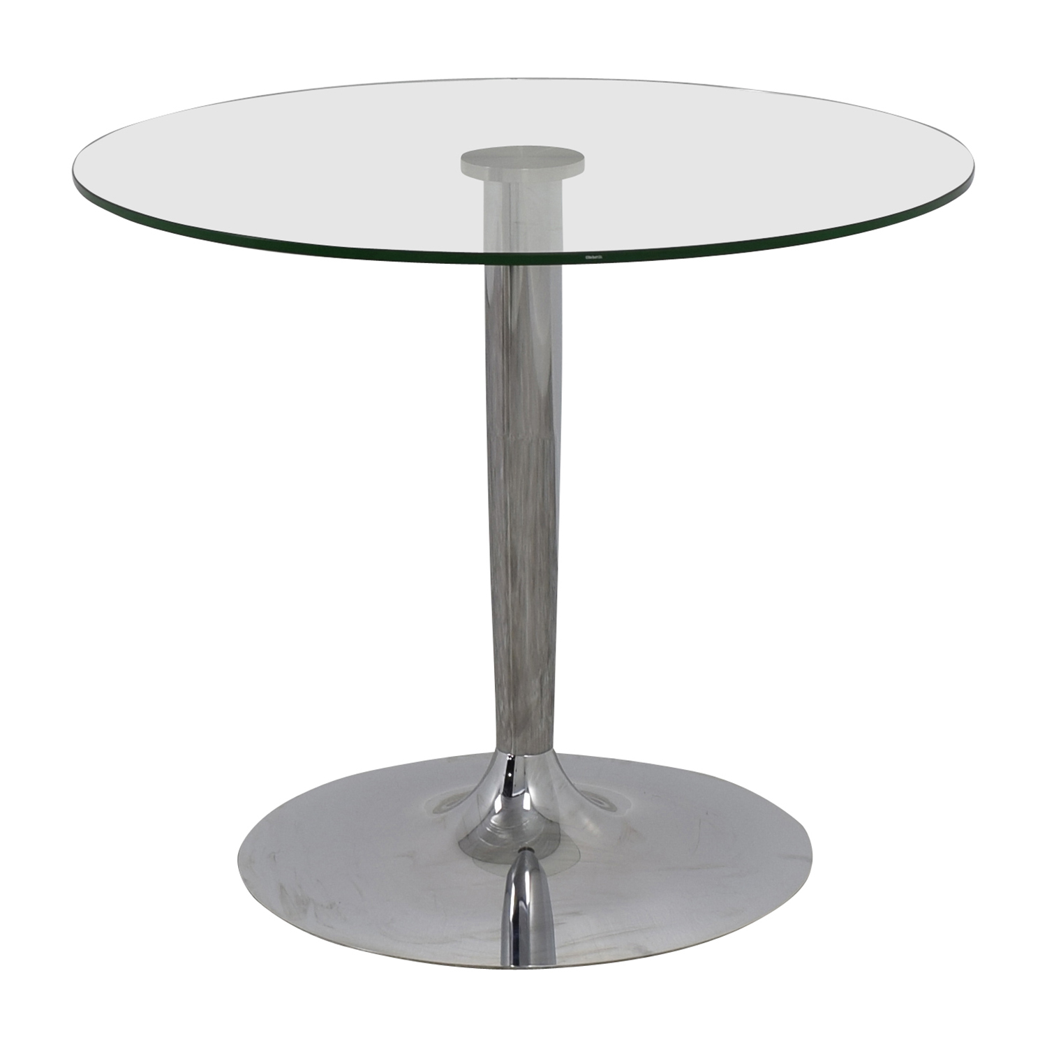Jensen-Lewis Glass and Chrome Round Dinette Table Jensen-Lewis