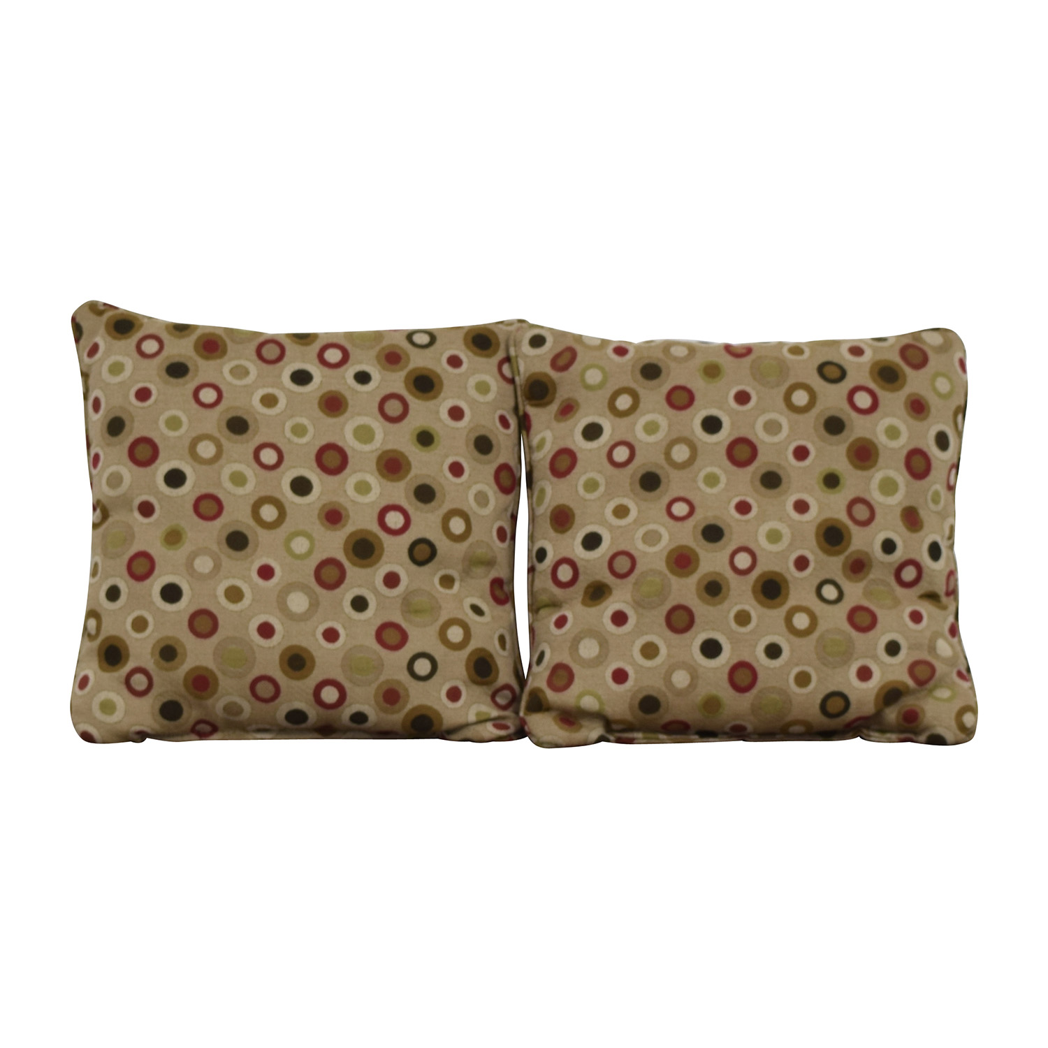 Tan with Multi-Colored Circles Toss Pillows browns/reds/greens/greys