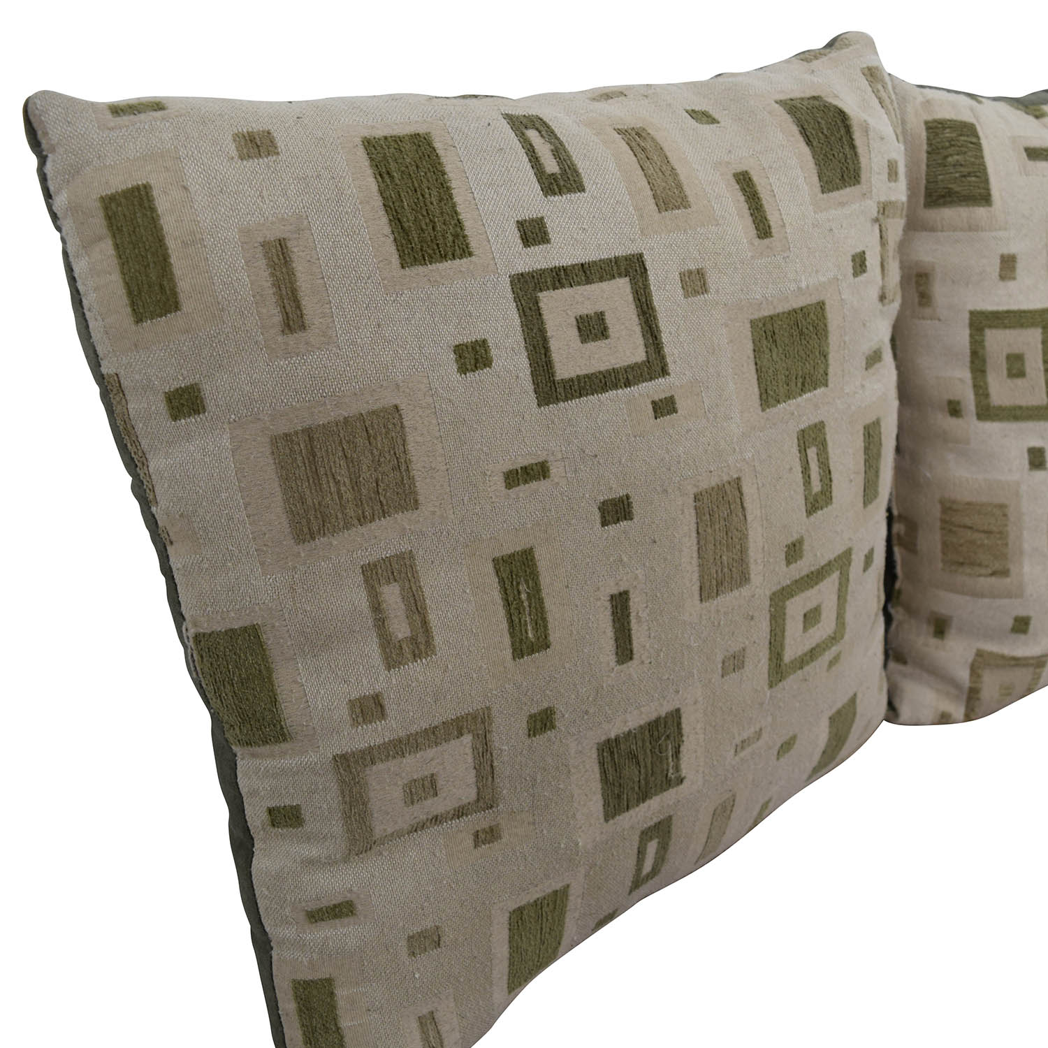 Multi-colored Square Design Tan and Green Toss Pillows