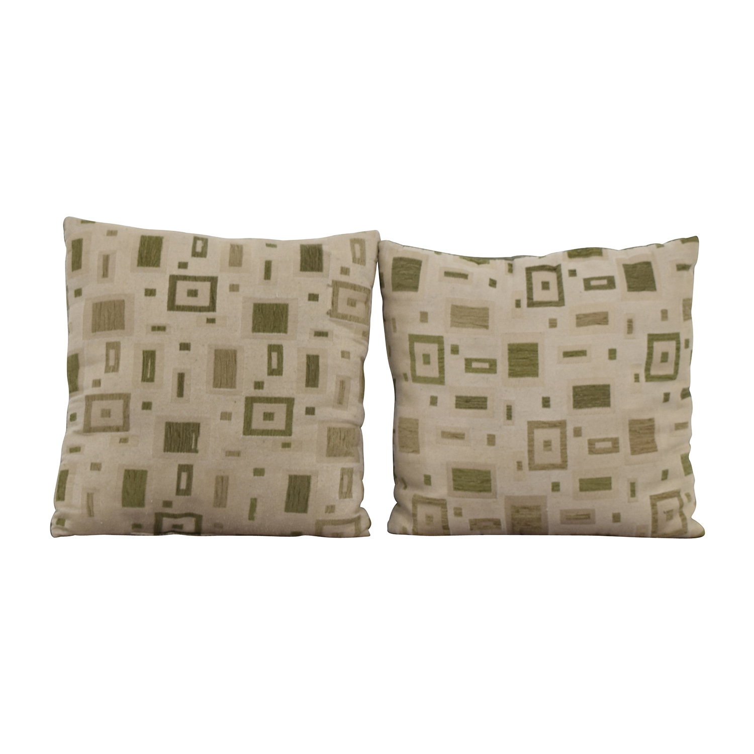 Multi-colored Square Design Tan and Green Toss Pillows second hand