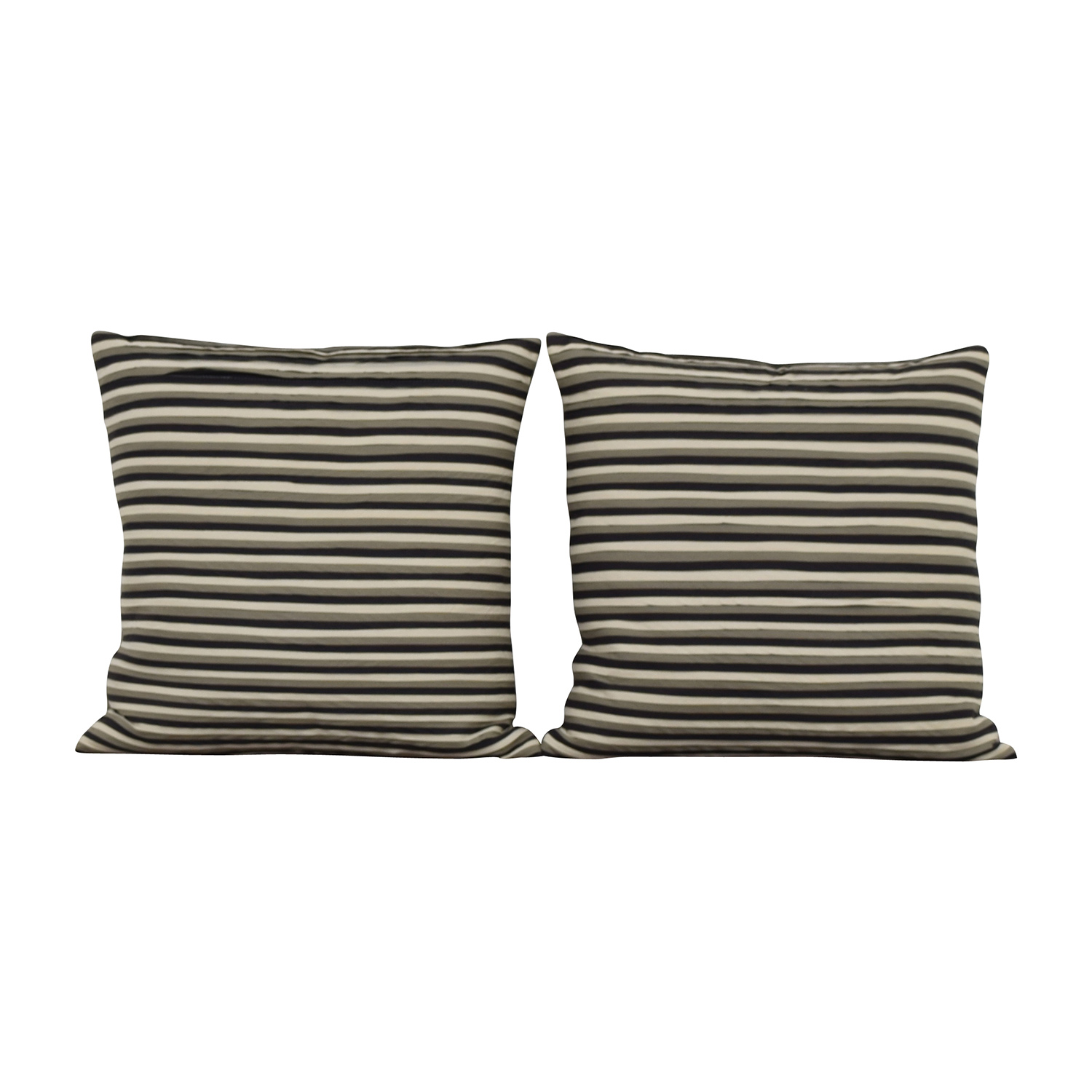 buy Striped Black Cream and Grey Toss Pillows Decorative Accents