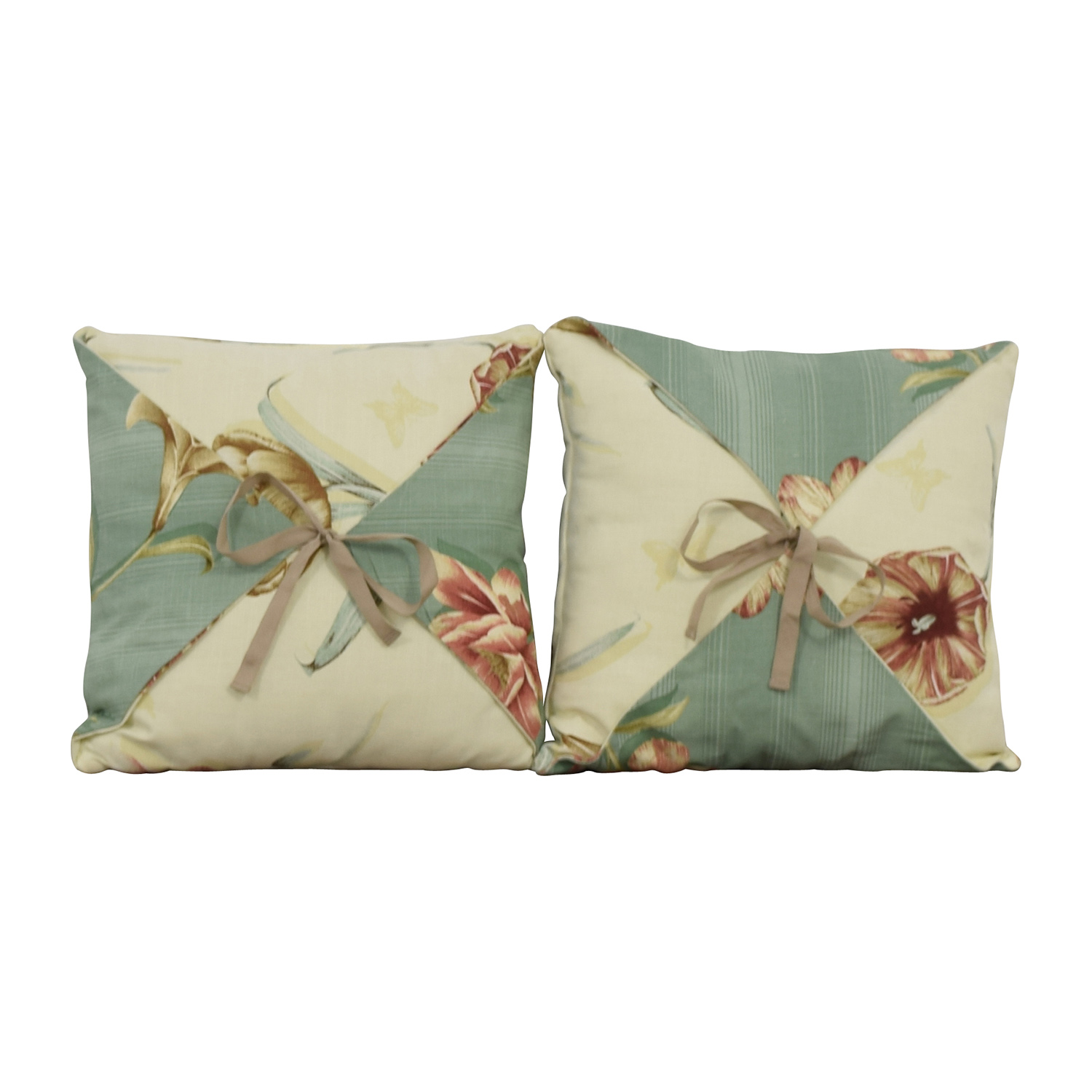 Beige and Blue Reversible Floral Toss Pillows coupon